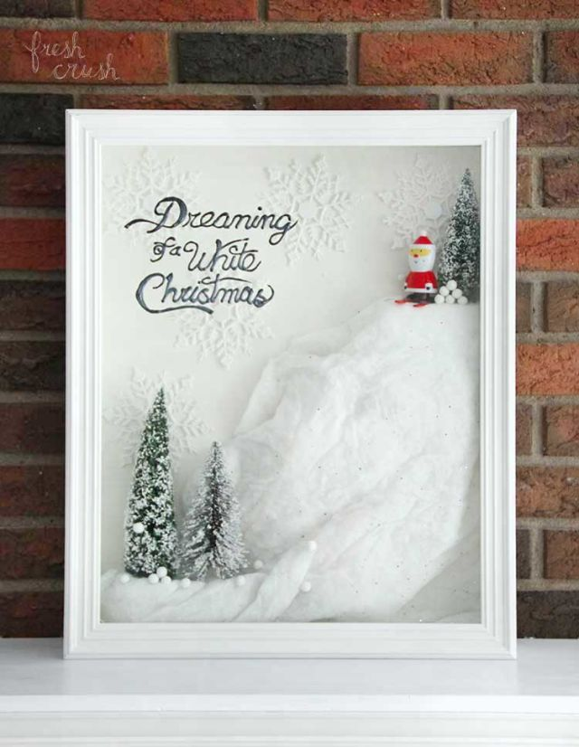 Have you been dreaming of a white Christmas? Even if it's warm in your neck of the woods this year, you can have one by creating this shadow box. Use faux snow, bottle brush trees, and styrofoam, and you're one step closer to having a perfectly framed winter wonderland. Get the tutorial at Fresh Crush.    - CountryLiving.com