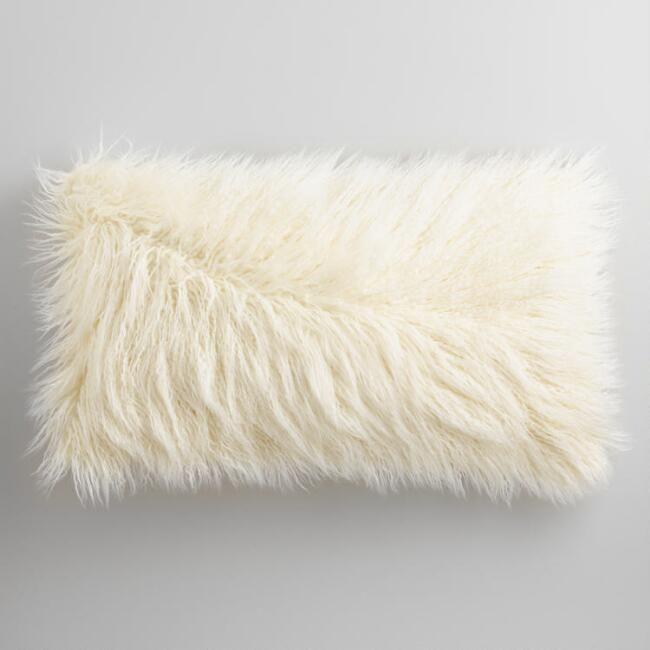 Oversized Ivory Mongolian Faux Fur Lumbar Pillow - v1