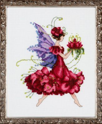 Nora Corbett Geranium - Cross Stitch Pattern. Model stitched on 32 Ct. Antique White Jobelan with DMC floss, Mill Hill beads, and Kreinik #4 Braid. Stitch Count