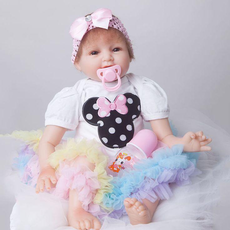55cm Soft Body Silicone Reborn Baby Girl Dolls Toy For Sale Cheap 22inch Vinyl Princess Smile Newborn Alive Babies Dolls Lifelik #Affiliate