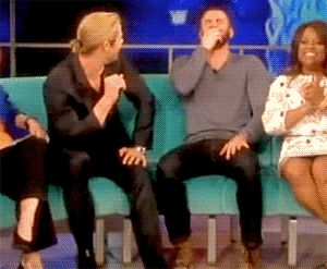 Chris giggling and then Chris kisses Chris and Chris giggles even harder.<<<Dawwww, the epic bromances!
