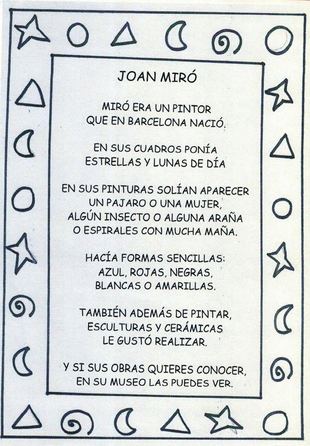 Resultado De Imagen De Miro Kids Joan Miró Para Niños Joan Miró Clases De Arte