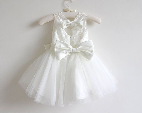 Цвета слоновой кости платье девушки цветка ребёнков от AlexDress