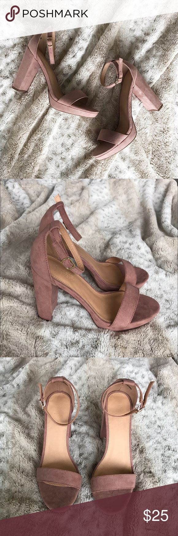 Pink Suede Ankle Strap Chunky Heel size 7 Suede pink/blush color ankle strap with chunky heels. Gold accent on the straps. Brand new! Never worn! From Charlotte Russe. NOT Steve Madden. Steve Madden Shoes Heels