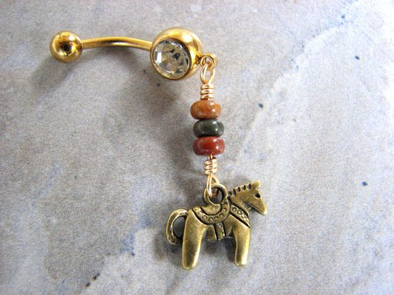 Dala Horse Gold Belly Button Rings Earth Tone by BitsOffTheBeach