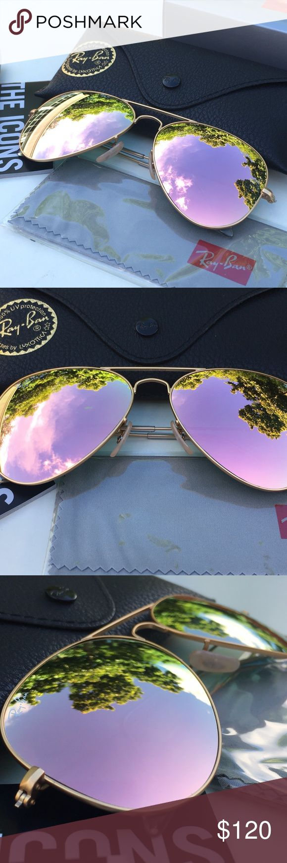RAY-BAN AVIATOR Sunglasses - Rose Gold/Gold Frame 100% AUTHENTIC & BRAND NEW  Original RAY-BAN AVIATOR Sunglasses Rose Gold/Gold Frame Model: RB3025 - 001/Z2  (58mm & 62mm)   -----------------------------------------------------------------   Product Description: Brand: Ray-Ban (100% Authentic) Lens Color: Gold Rose Frame Color: Gold Model: RB3025 Color Code: 001/Z2 Size: 58-62mm/14/3N Gender: Unisex Made: Italy  Package Includes:  - Ray-Ban Outer Paper Box - Ray-Ban Carrying Case - Ray-Ban…
