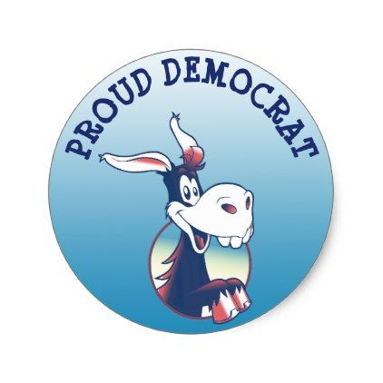 Proud Democrat Political Party Donkey Classic Round Sticker - humor funny fun humour humorous gift idea