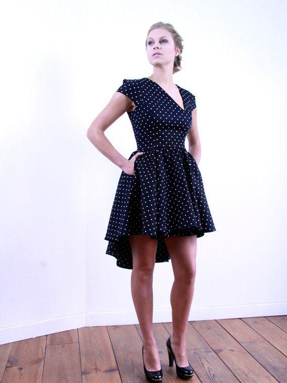 Robe noire courte devant longue derriere robe femme - Coupe courte devant et longue derriere ...