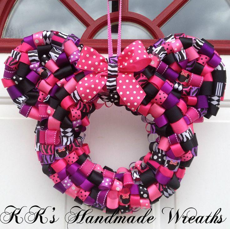 how to make minnie mouse wreath | Zebra Print Minnie Mouse Pink And Purple by KKsHandmadeWreaths