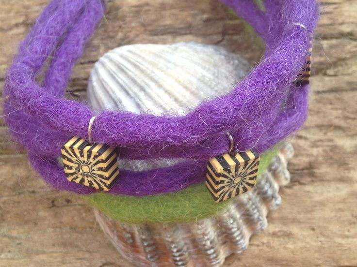 Felt Wool Cord Hippie Handmade Bracelet with Tibetan Touch and Clay Squares by EffyBuu on Etsy