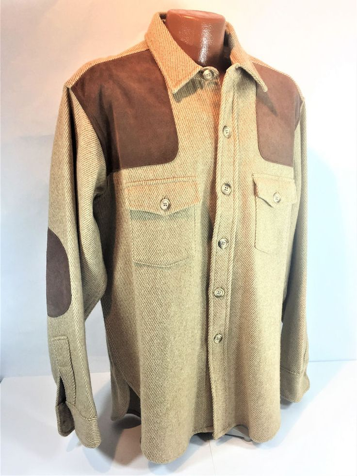 Vintage Cabela's Wool Hunting Shirt Shoulder Elbow Patches Shooting Made In USA #Cabelas #ButtonFront