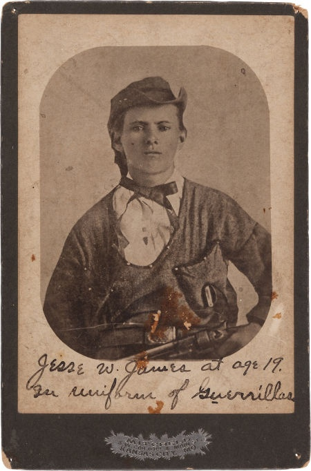 A rare cabinet photo of Jesse James dressed as a Quantrill Guerilla, taken on July 10th, 1864.