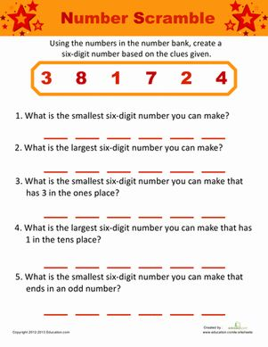 Unscramble the numbers to answer each clue. Strengthen those place value and logic skills as you mix the numbers around according to the clues given.
