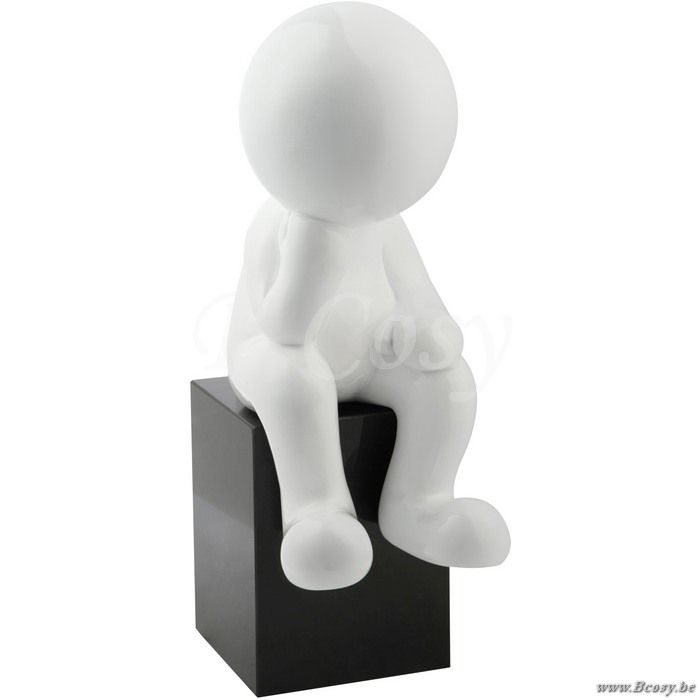 J-Line Abstract beeld denker man denkend zittend op voetstuk wit 50h - Beelden - BCosy Webshop Boutique Web Vente en Ligne