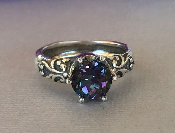 Mystic Topaz Engagement Ring Natural Round Mystic by SimplySilvery