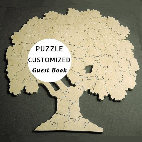 Guest Book PUZZLE - 40 50 60 70 100 .. pc pcs Pieces - Tree Hearts Coins - Custom Made Personalized Wedding Party Meeting Wooden Jigsaw Gift