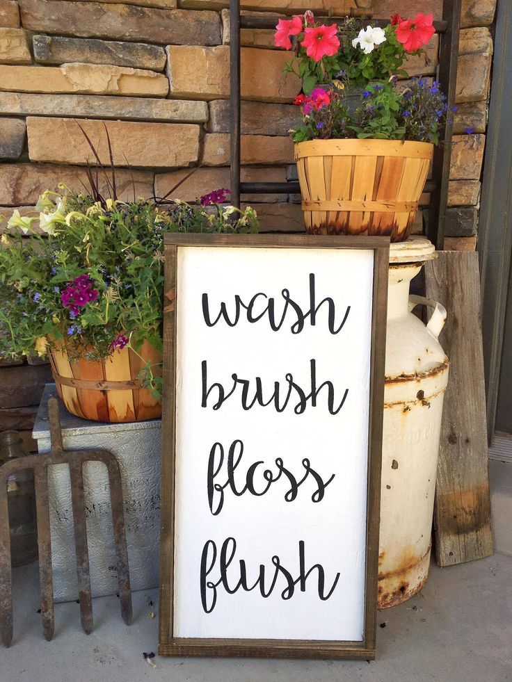 Bathroom Wash Brush Floss Flush Sign