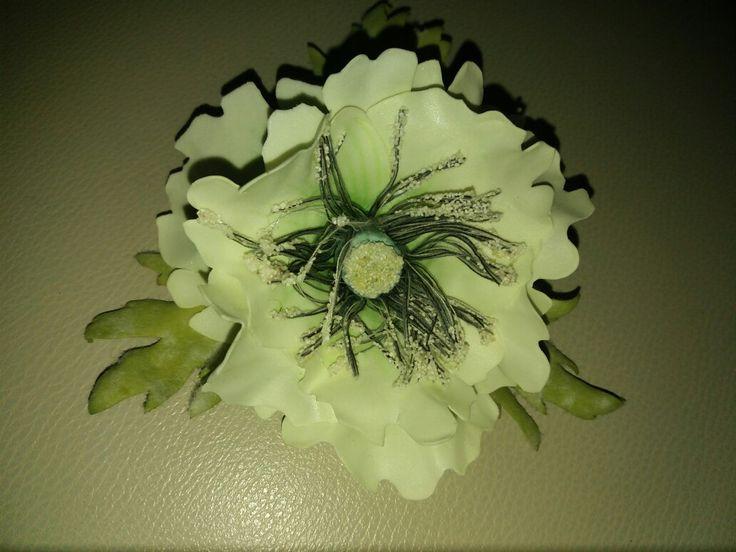 Белый мак из фоамирана