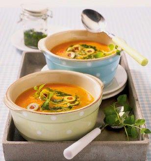 Paprikacremesuppe mit Pesto Rezept