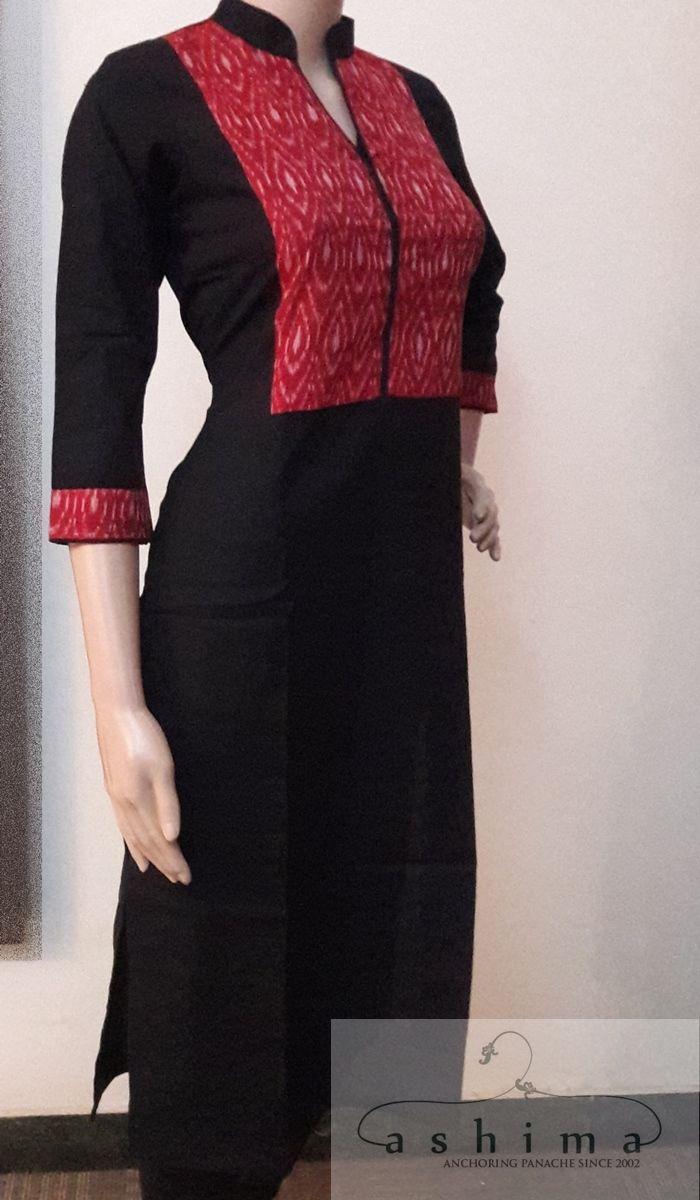 Code:2805171 - Price INR:1290/- , Cotton Kurti With Ikkat Silk.