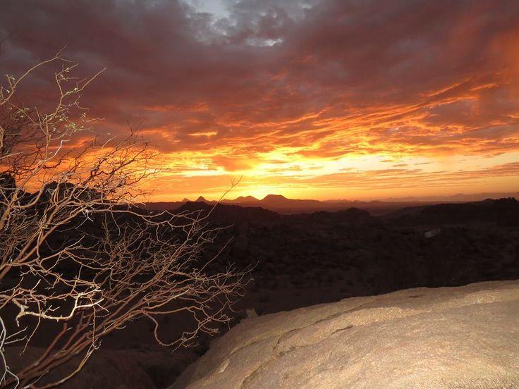 "A Mowani Mountain Camp treasure -- Luxury Safari Lodge -- Namibia  ""Enjoy the beauty of a sunset and enjoy nature's farewell kiss for the night."""
