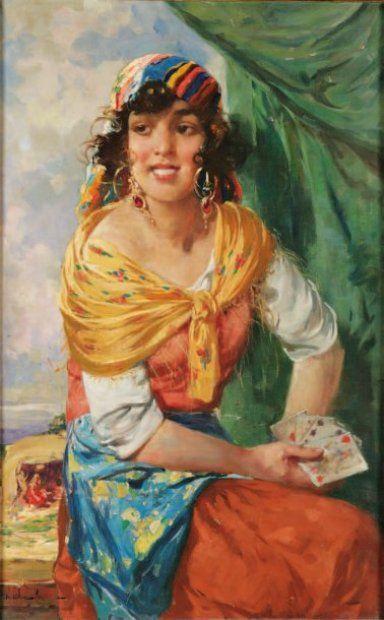 """Divination:  Gypsy Fortune-Teller """"La tireuse de cartes."""" Huile sur toile signée en bas à gauche WITHALM. 79 x 52 cm."""