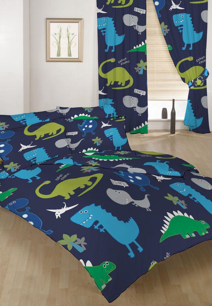 Double Bed Duvet Cover Set Dinosaurs Blue Boys + 2 ...