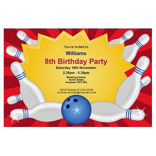 Bowling party themed personalised party invitations.