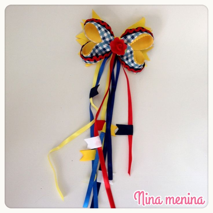 laço colorido ideal para festa junina  feito a mão  prendedor bico de pato