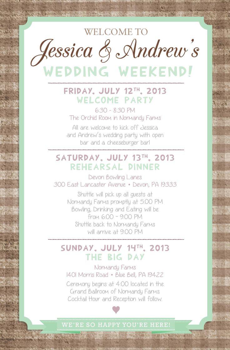 Best 25 Wedding Weekend Itinerary Ideas On Pinterest
