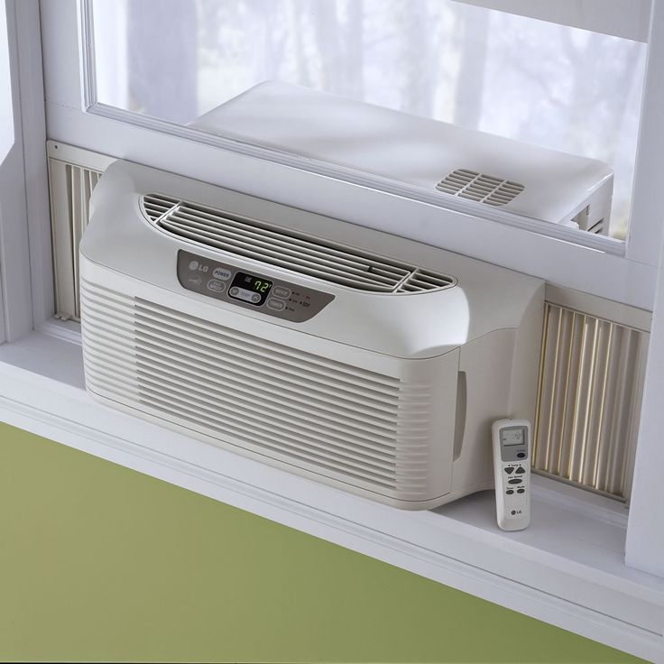 Window air conditioner outside