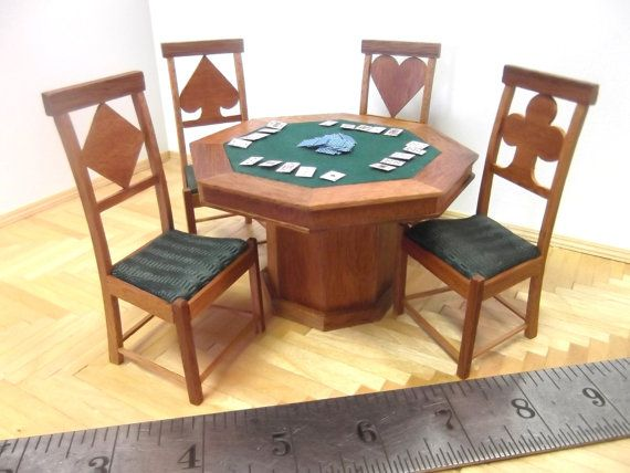 Miniature Poker Table and Chairs Set by minibuilder on Etsy, $125.00