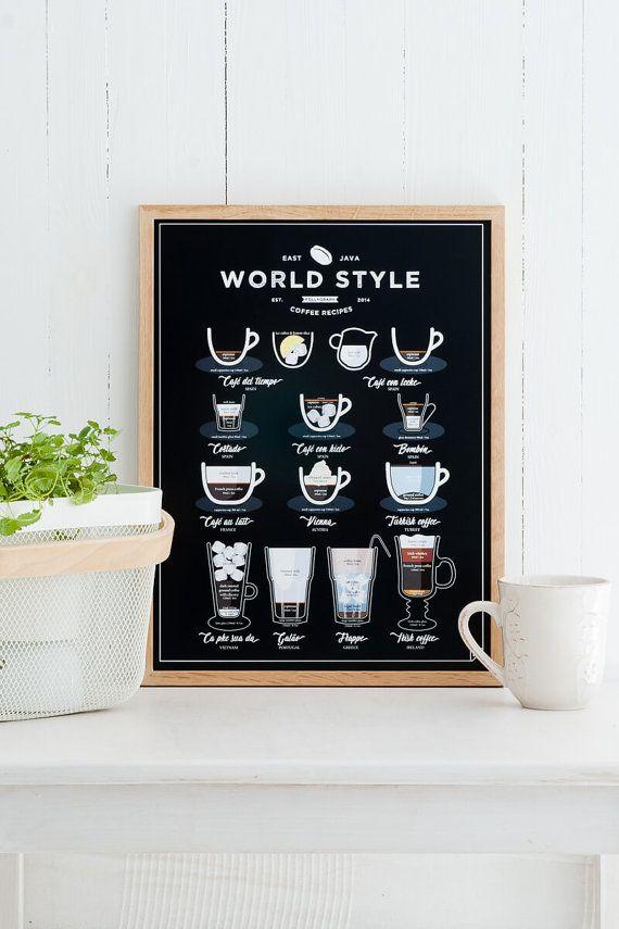 Nice World Style Kaffee auszugeben x x Poster K che Kaffee Grafik Kaffee Liebhaber Geschenk f r Weihnachten schwarz
