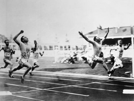 Early Olympics - The sprinter Charlie Paddock wins the men's hundred-metre dash, at the 1920 Olympic Games in Antwerp, Belgium.