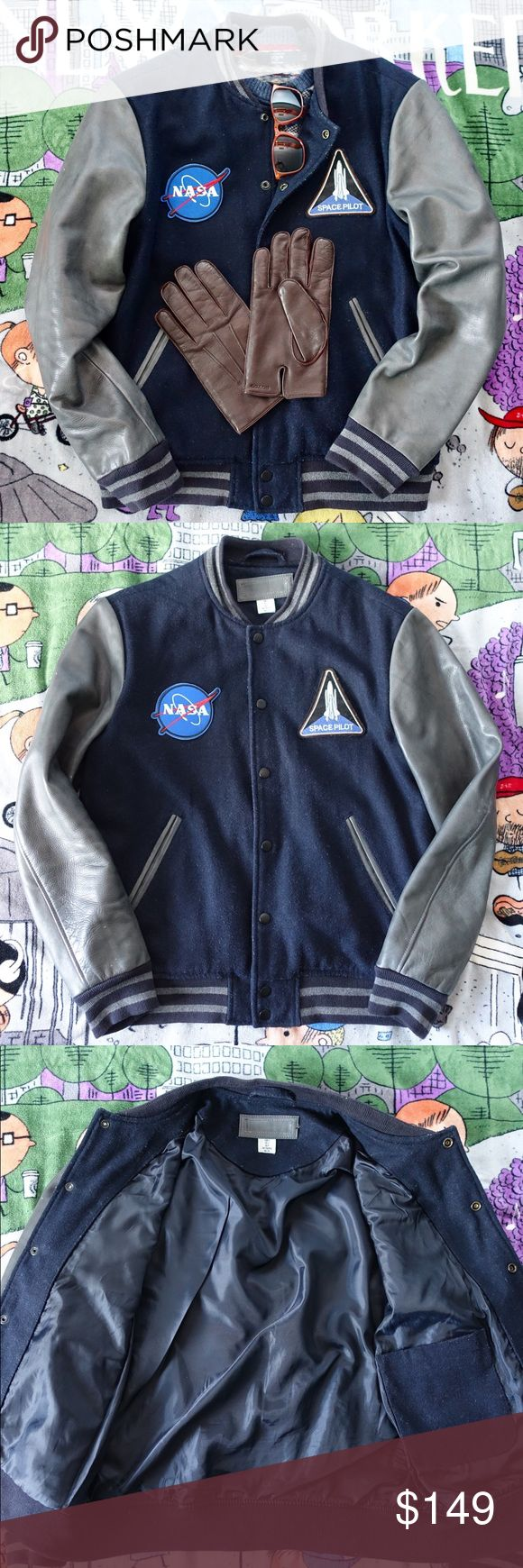 NASA Custom Patched Vintage Leather Varsity Jacket NASA Custom Patched Vintage Leather Varsity Jacket. Sized small. Wool panels and leather sleeves, excellent condition and very unique and great fall jacket! Listing because of requests, if I don't sell this I'd rather keep it. Thanks for looking! Custom Vintage Jackets & Coats Bomber & Varsity