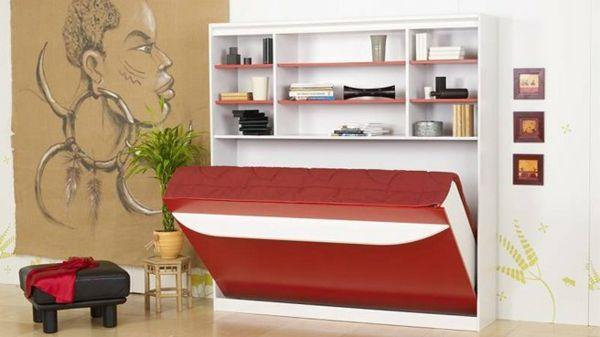 Chambre à coucher-  103 Grandes idées - lit-escamotable-rouge-blanc-contamporain