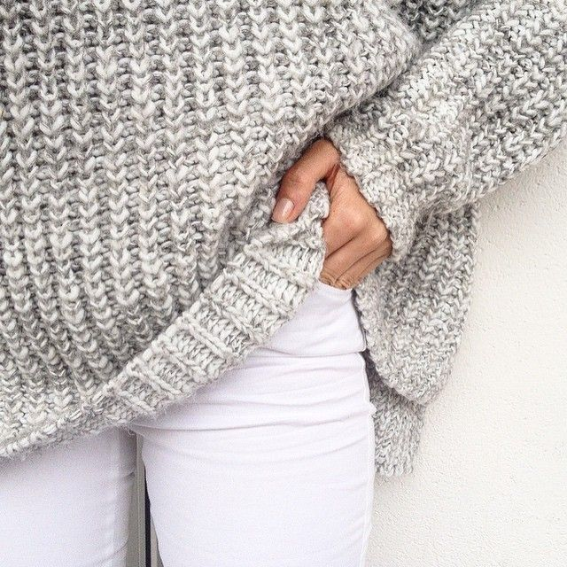 White & gray. Winter fashion. Fashion 2016. Sweater, cardigan. Jeans, denim.
