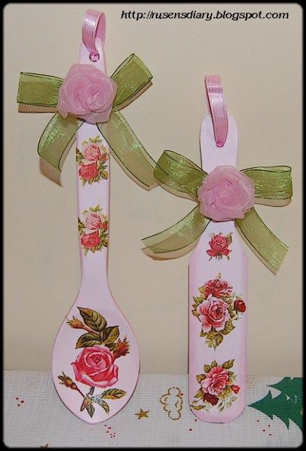 Decoupaged wooden spoon and spatula - several free images on this website also