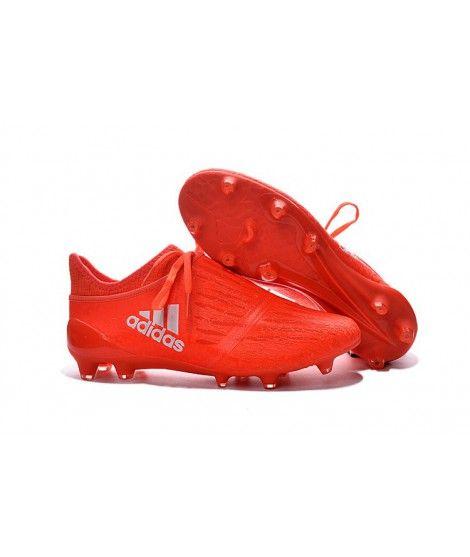 Adidas X 16 PureChaos FG-AG Tacchetti Per Terreni Duri Per Campi In Erba Artificiale Rosso Argento Scarpe Da Calcio