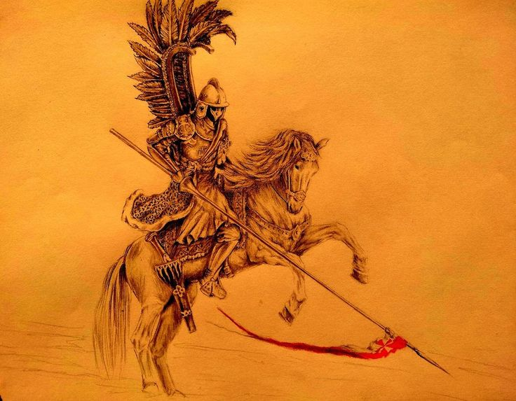 Polish Winged Hussars - a heavily armored shock cavalry study of the drawings (pencils, etc.) HUSARIA to siejące grozę polskie oddziały ciężkiej kawalerii z 17 wieku.....