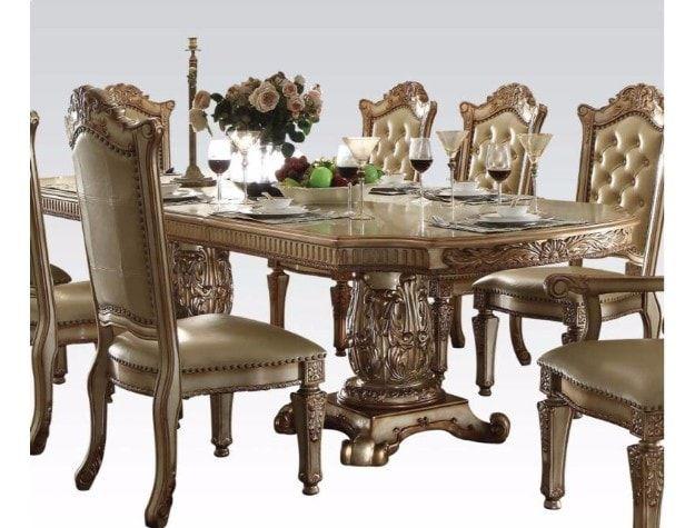 Dining Set Acme Vendome Gold Collection Bellagio Furniture Store Houston TX  Www.BellagioFurniture.com