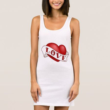 Women's Jersey Tank Dress White, Red love heart - click to get yours right now!