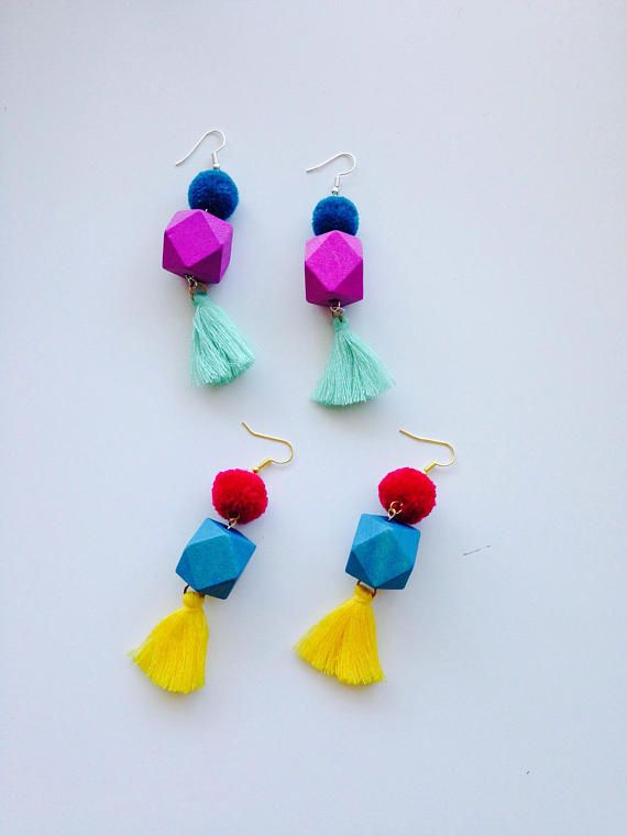 Focal-point-of-the-party Wooden Tassel Earrings Drop
