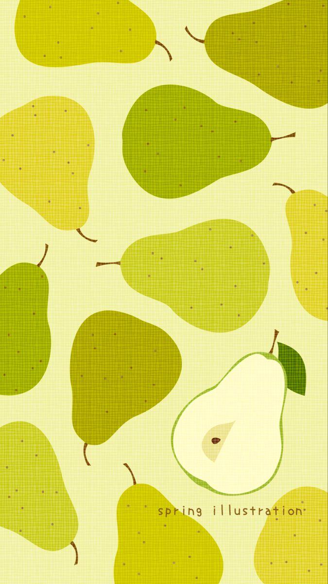 洋梨 秋の果物のイラストスマホ壁紙 秋 壁紙 フルーツ イラスト 壁紙
