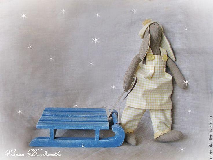 Купить Саночки деревянные - тёмно-синий, санки, сани, для кукол, для куклы, аксессуары для кукол