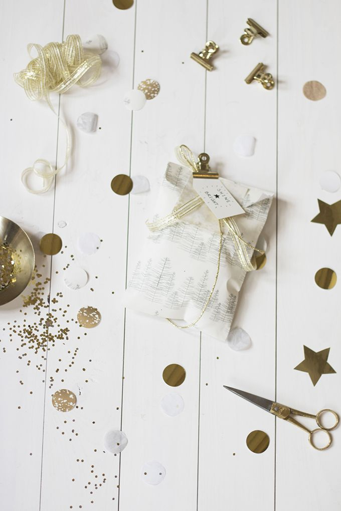 Merry and Bright gift wrapping.