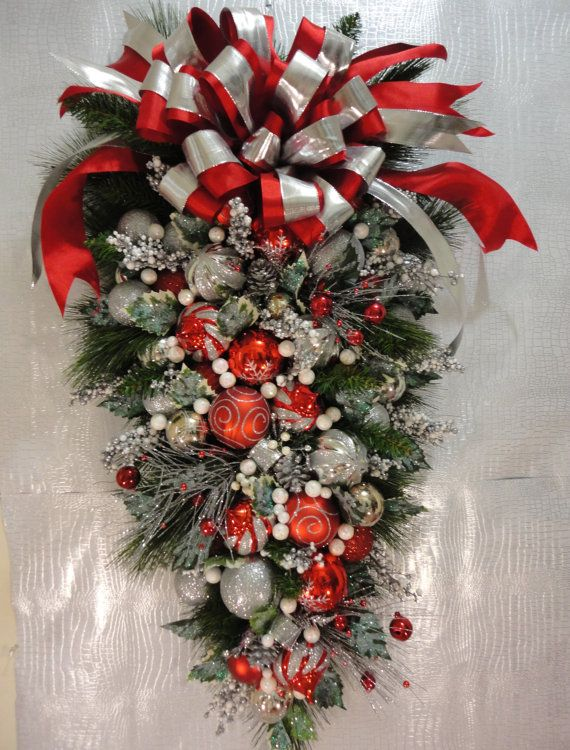 Christmas Peppermint Wreath Teardrop Wreath by Celestialangelting, $220.00
