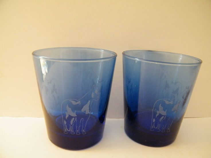 Cobalt Blue water glasses with etched pinto horse design, vintage anchor hocking 10 ounce tumblers set of 2, farmhouse, ranch or breeders by Terrystreasuretrunk on Etsy