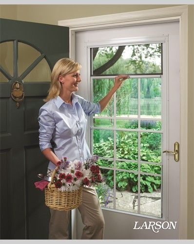 Sometimes your entry is all about bringing the outside in. This LARSON white storm door has a retractable screen that lets in fresh air when you want it, and disappears into the door when you don't.   #WelcomeHome #MyLarsonDoor