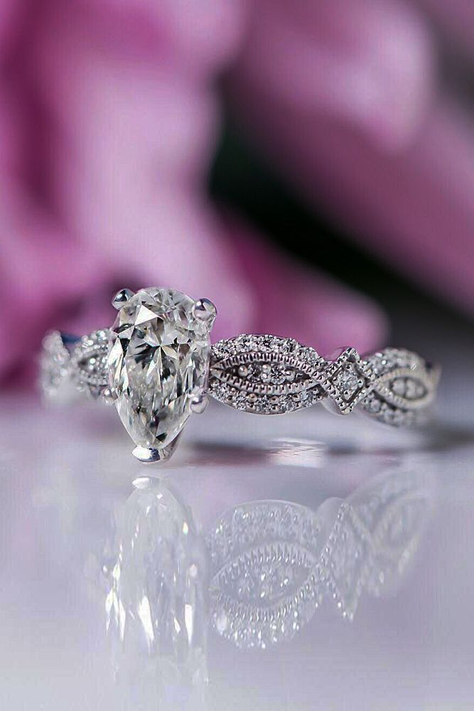 24 Perfect Solitaire Engagement Rings For Women ❤ solitaire engagement rings diamond pear cut twist pave band ❤ More on the blog: https://ohsoperfectproposal.com/solitaire-engagement-rings/